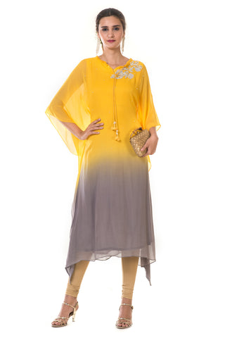 Hand Embroidered Yellow & Grey Shaded Kaftan FRONT