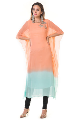 Hand Embroidered Peach & Blue Shaded Kaftan FRONT