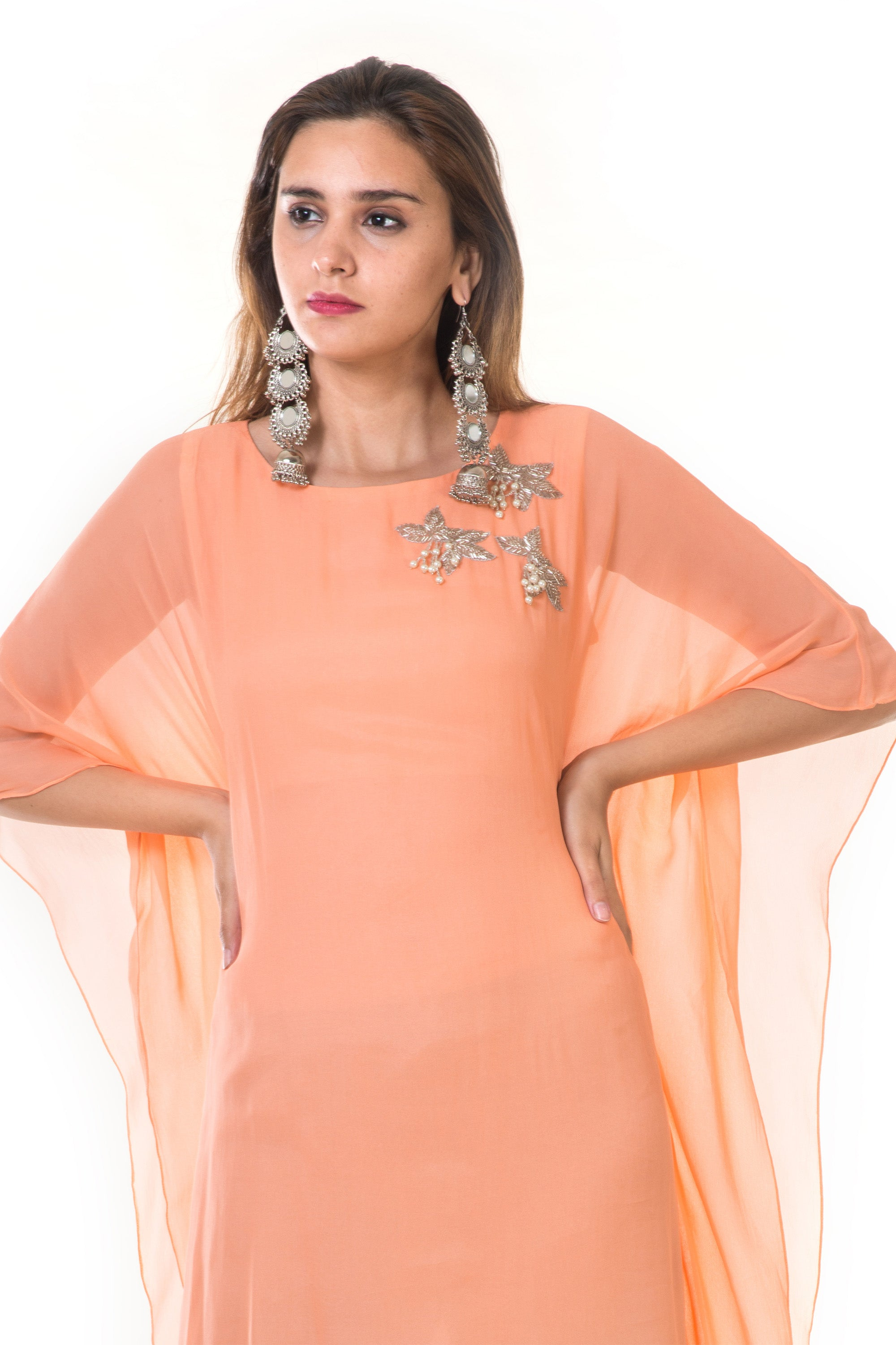 Hand Embroidered Peach & Blue Shaded Kaftan CLOSE