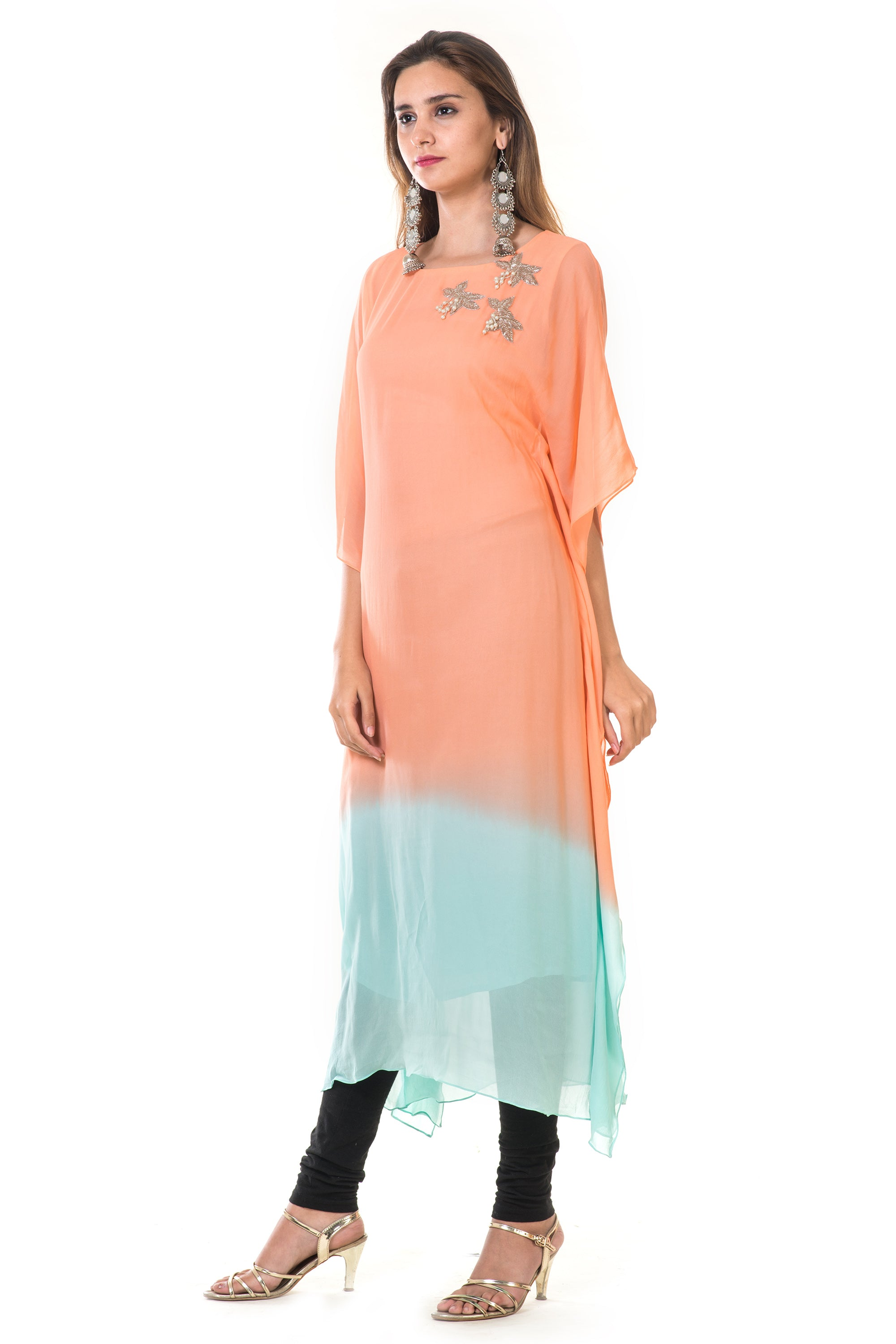 Hand Embroidered Peach & Blue Shaded Kaftan SIDE