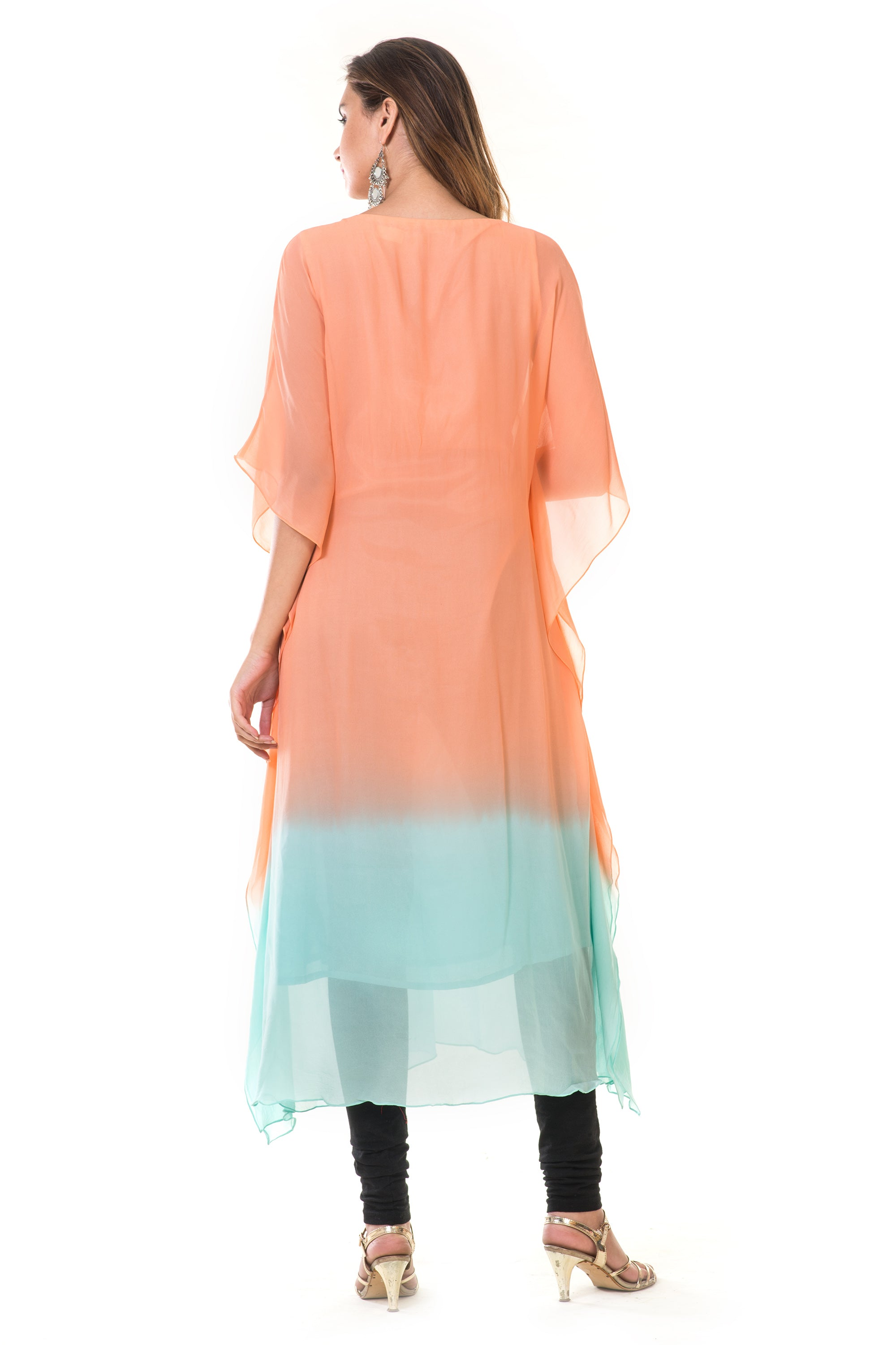Hand Embroidered Peach & Blue Shaded Kaftan BACK
