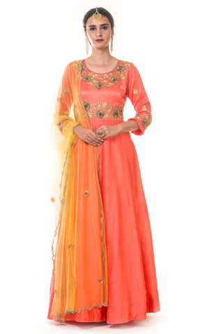 Orange  Kali Gown with Pleated Sleeves & Dupatta FRONT