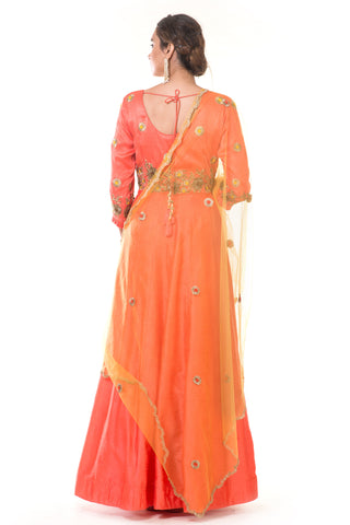 Orange  Kali Gown with Pleated Sleeves & Dupatta