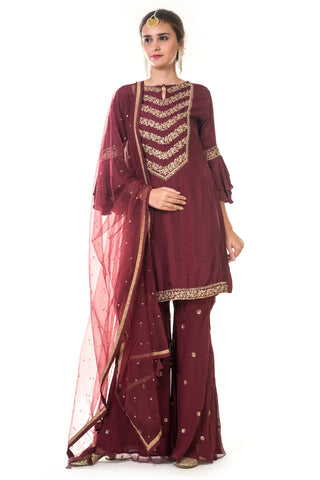 Maroon Hand Embroidered Suit Set FRONT