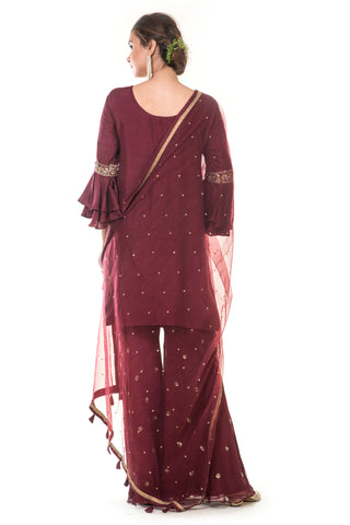 Maroon Hand Embroidered Suit Set