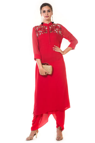 Red Floral Embroidered Kurta with Dhoti Pants FRONT