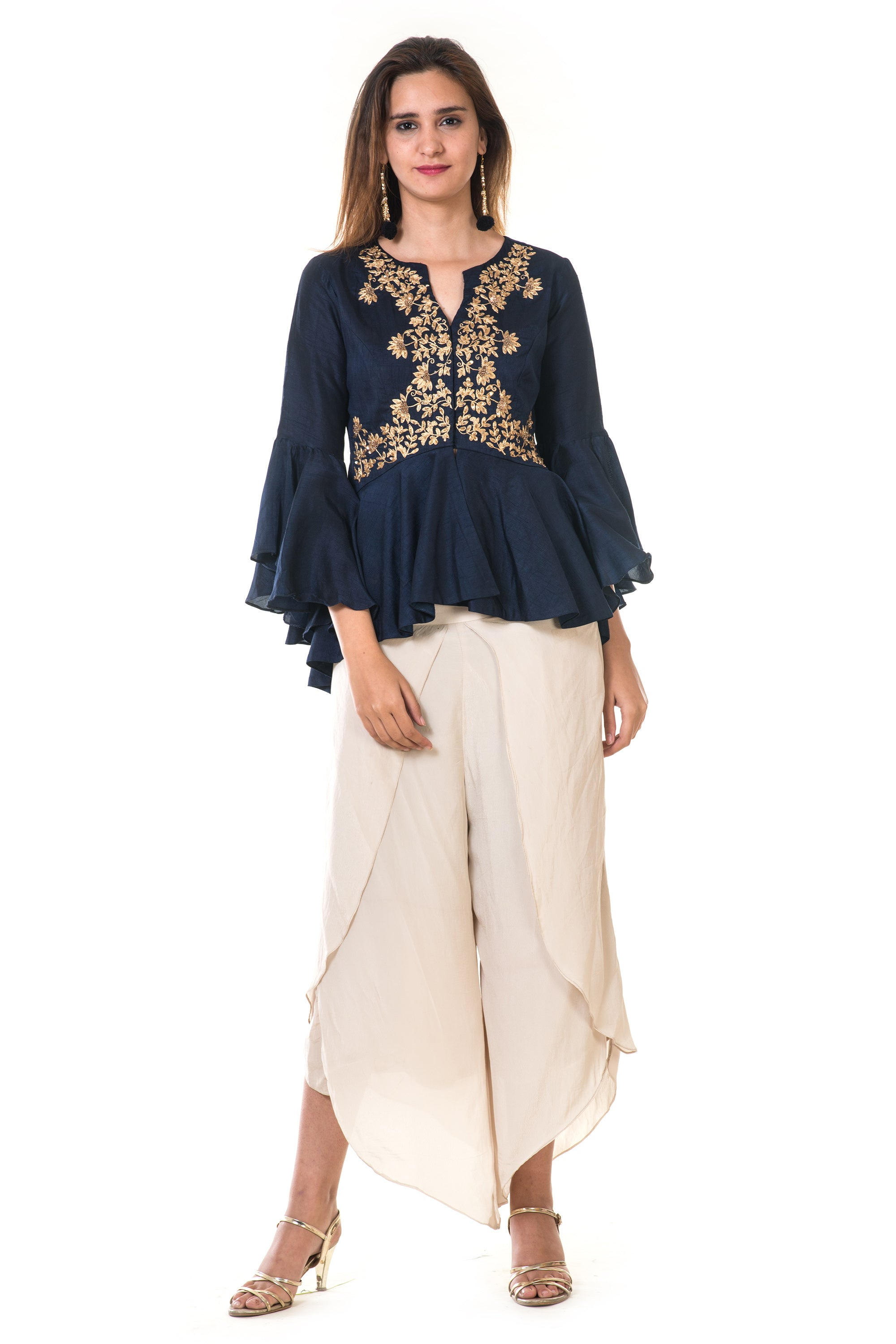Hand Embroidered Peplum Top & Dhoti Pant FRONT