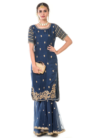 Royal Blue Hand Embroidered Suit Set FRONT