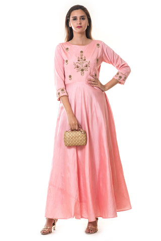 Pink Floral Hand Embroidered Silk Anarkali Gown FRONT