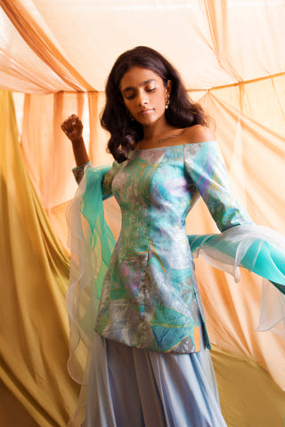 Blue Print Off Shoulder Blue Kurta Set