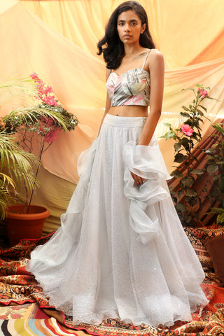 Print Bustier & Silver Grey Skirt Lehenga FRONT