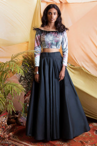 Feather Off Shoulder Blouse & Black Taffeta Skirt FRONT