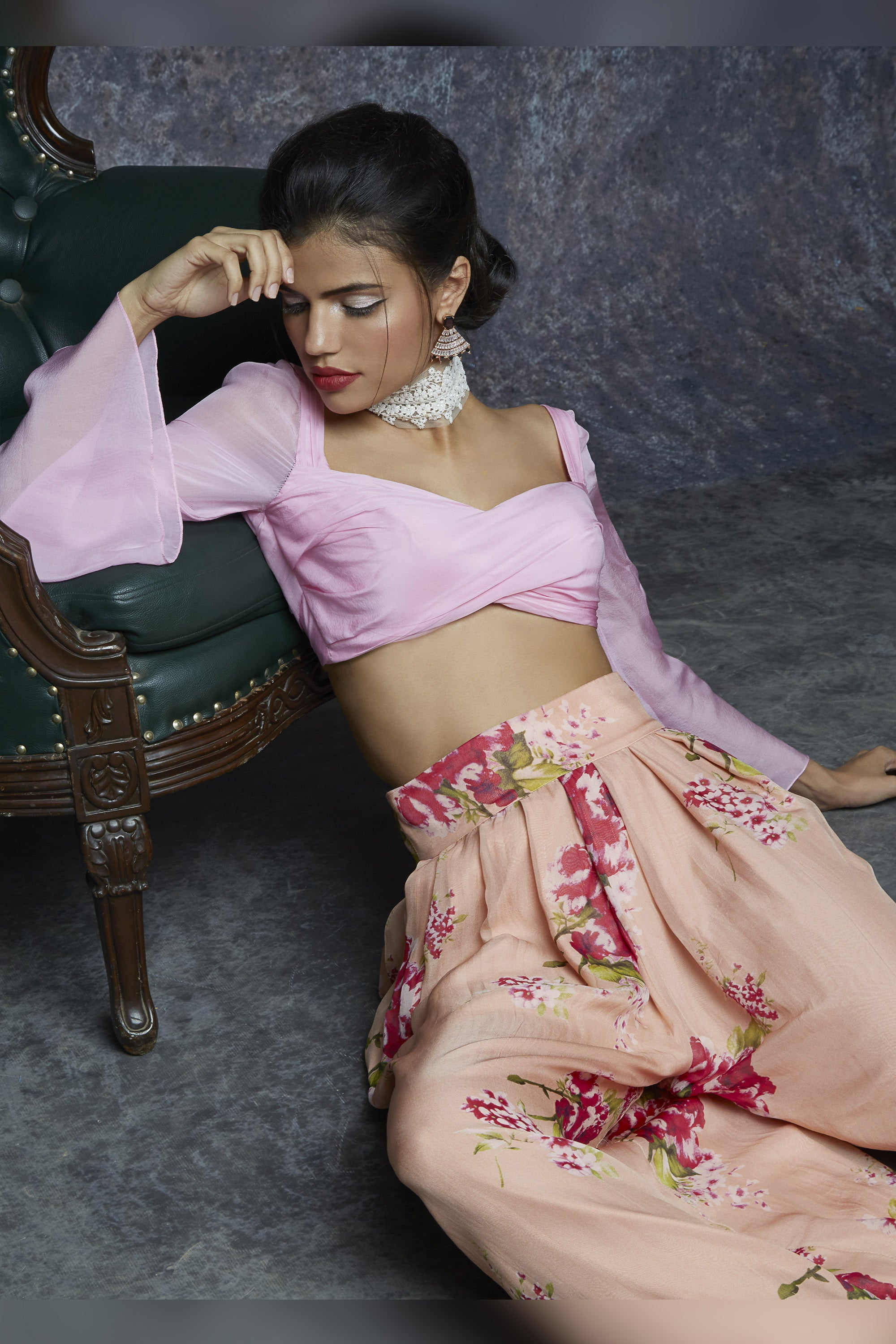 Pink Crop Top With Palazzo Pants Close up