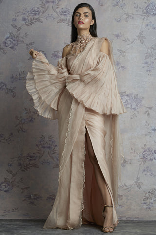 Beige Organza Saree With Pleated Bell Sleeves Blouse Front