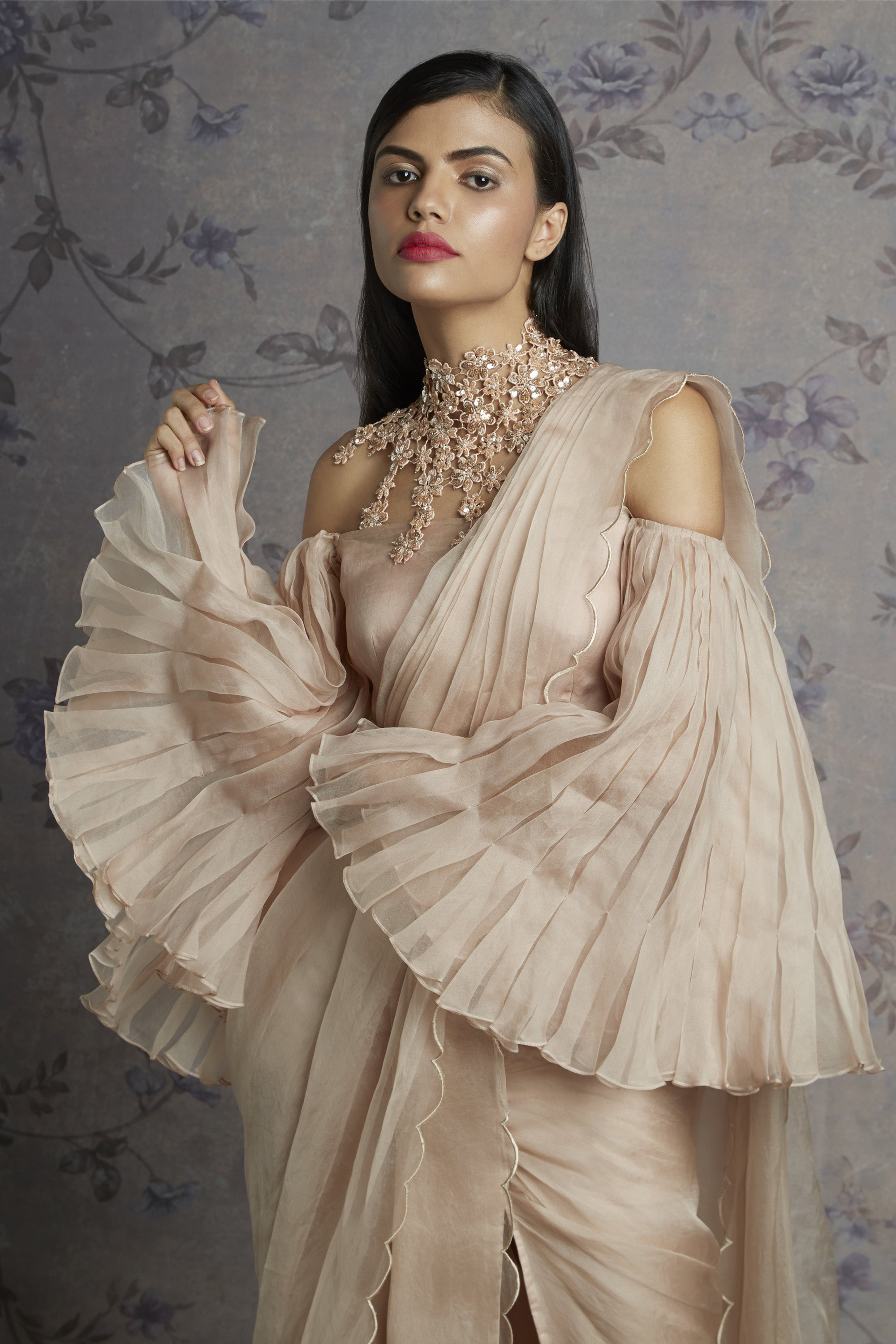 Beige Organza Saree With Pleated Bell Sleeves Blouse Close up