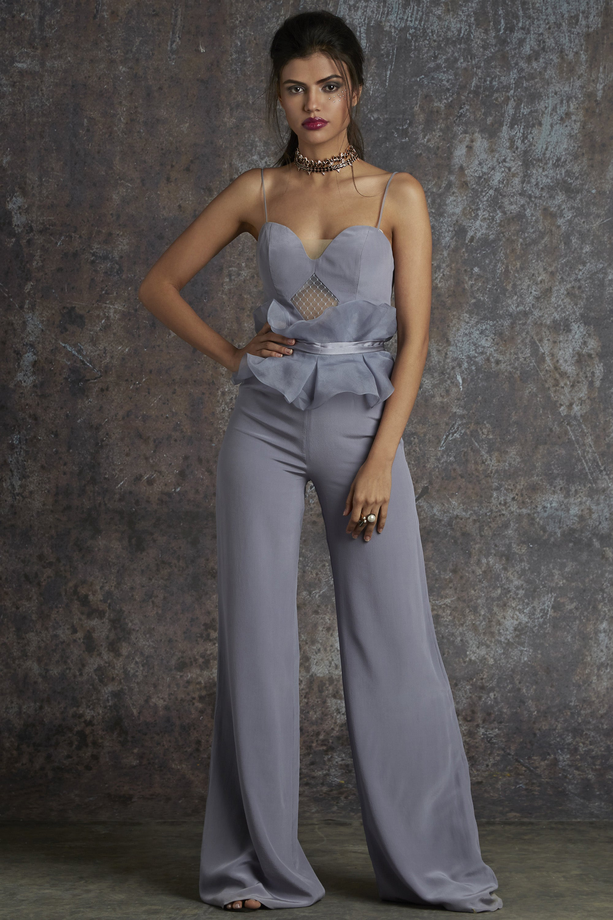 Grey Flare Jumpsuit Front