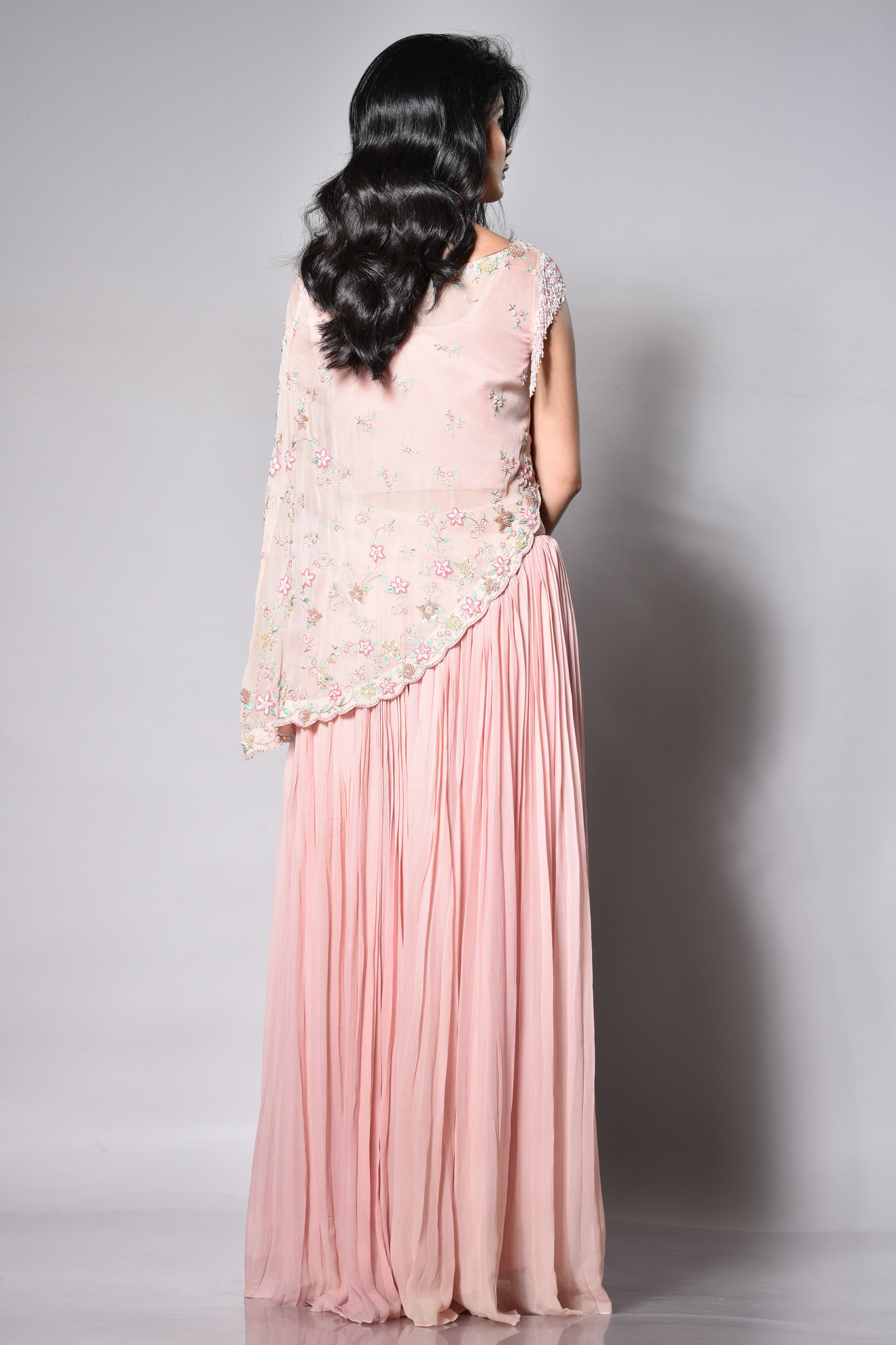 Blush Pink Pleated Palazzo With A Cape Top