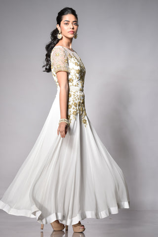 White Anarkali with Gold Hand Work
