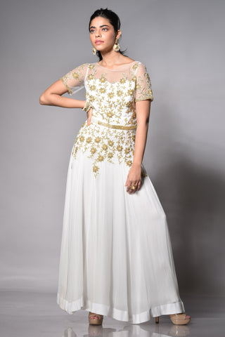 white and gold anarkali