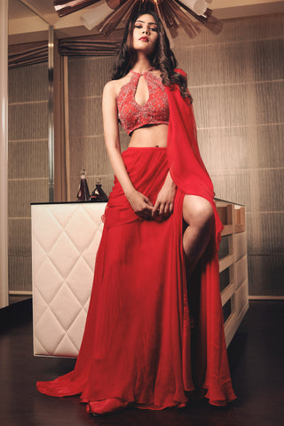 Red Embroidered Draped Saree Front