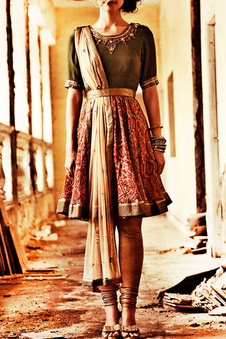 Olive Green Short Anarkali Front