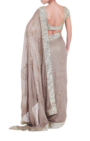 Gold Saree & Sequined Blouse