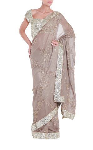 Gold Jewelled Silk Saree Seema Khan Front