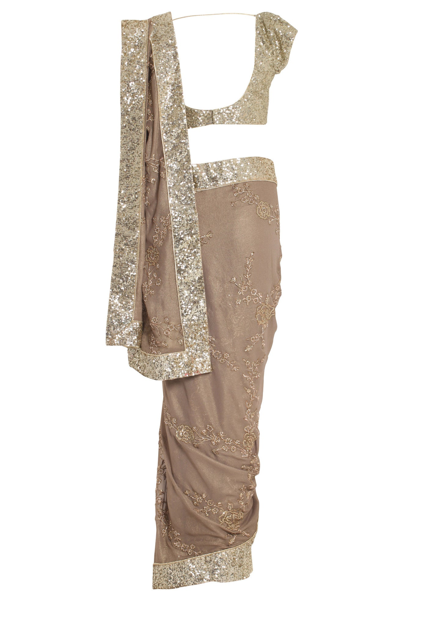 Gold Jewelled Silk Saree Seema Khan Mannequin Back