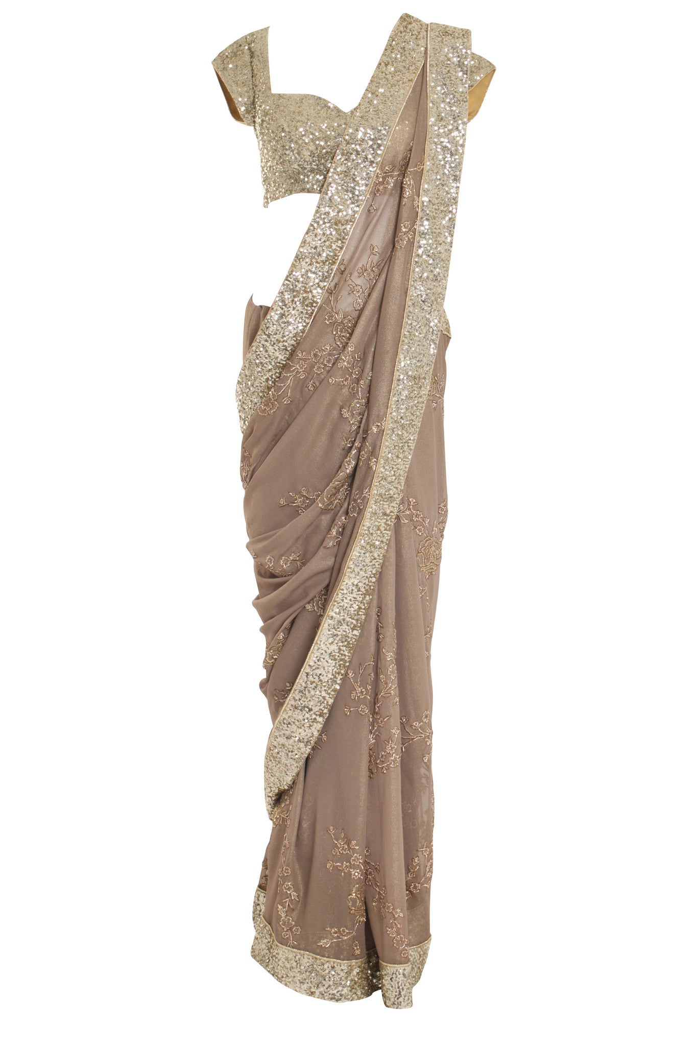 Gold Jewelled Silk Saree Seema Khan Mannequin Front
