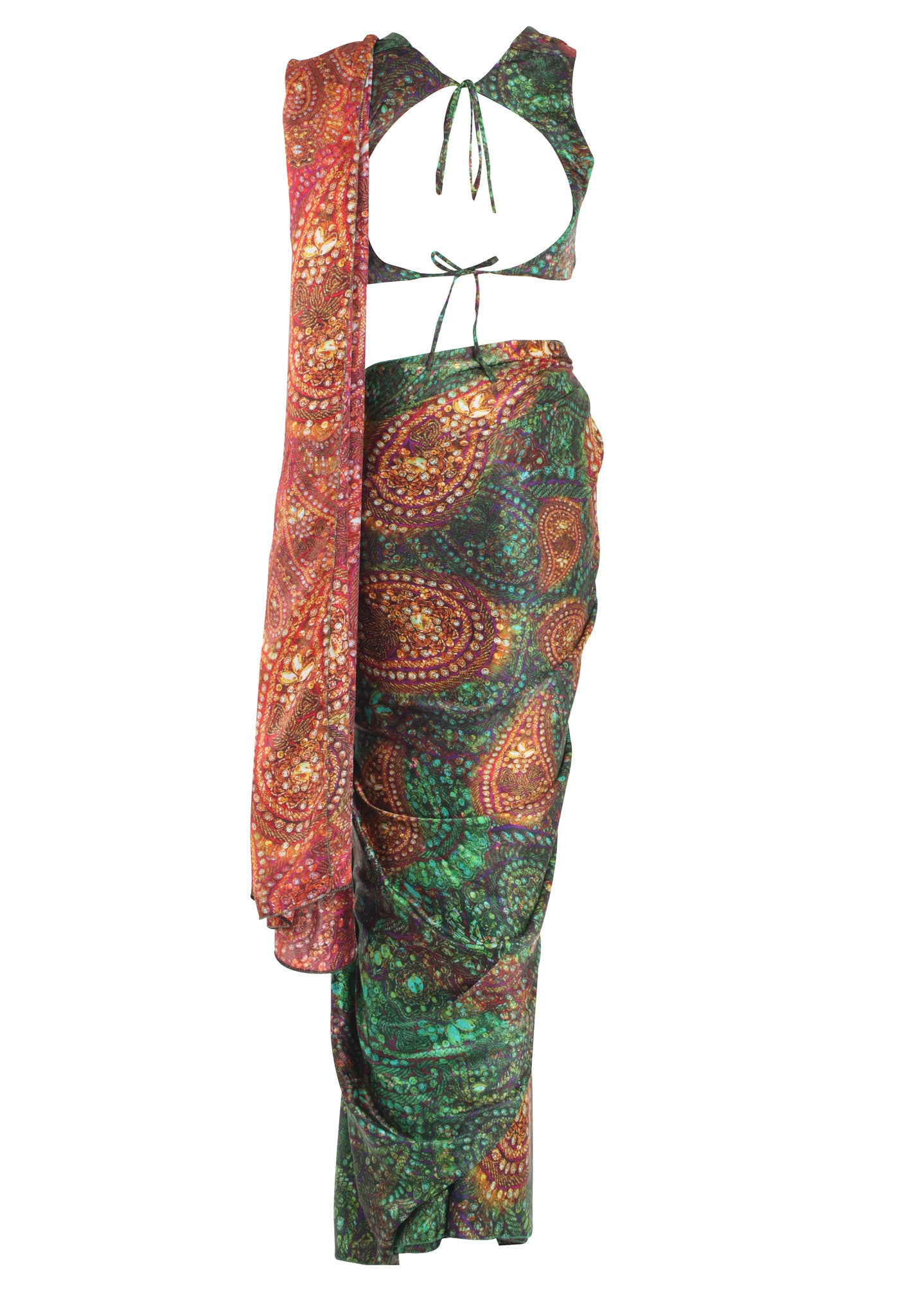 Green Red Silk Print Saree Parul Signature Mannequin Back