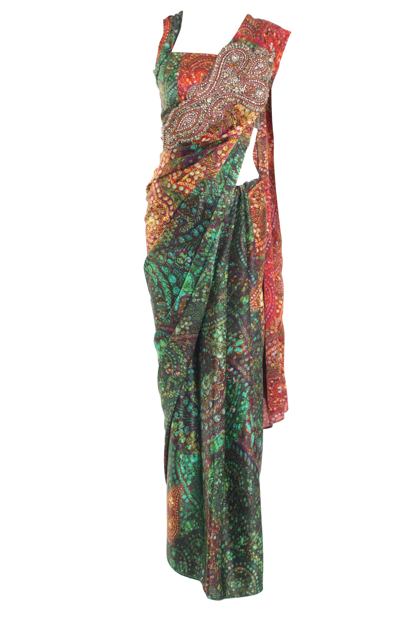 Green Red Silk Print Saree Parul Signature Mannequin Front