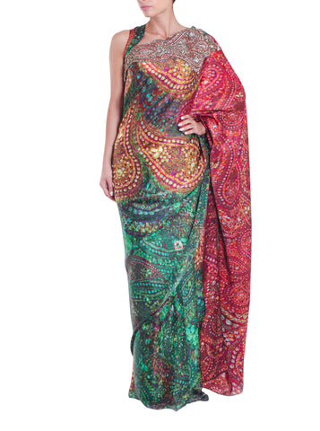 Green Red Silk Print Saree Parul Signature Front