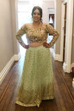 Mint Green Sequins Lehenga With Off Shoulder Blouse & Salmon Pink Dupatta