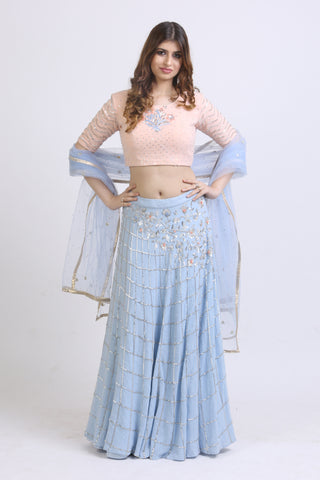 Peach & Powder Blue Jute Lehenga FRONT