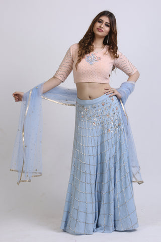 Peach & Powder Blue Jute Lehenga