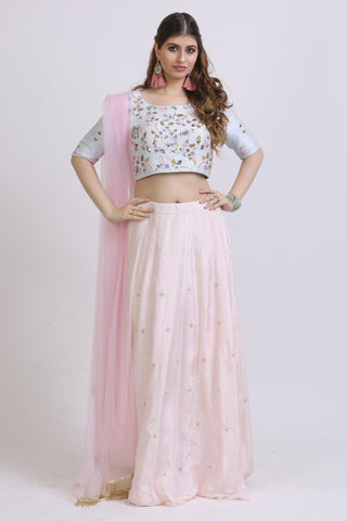 Powder Blue & Baby Pink Resham Embroidered Lehenga Blouse FRONT