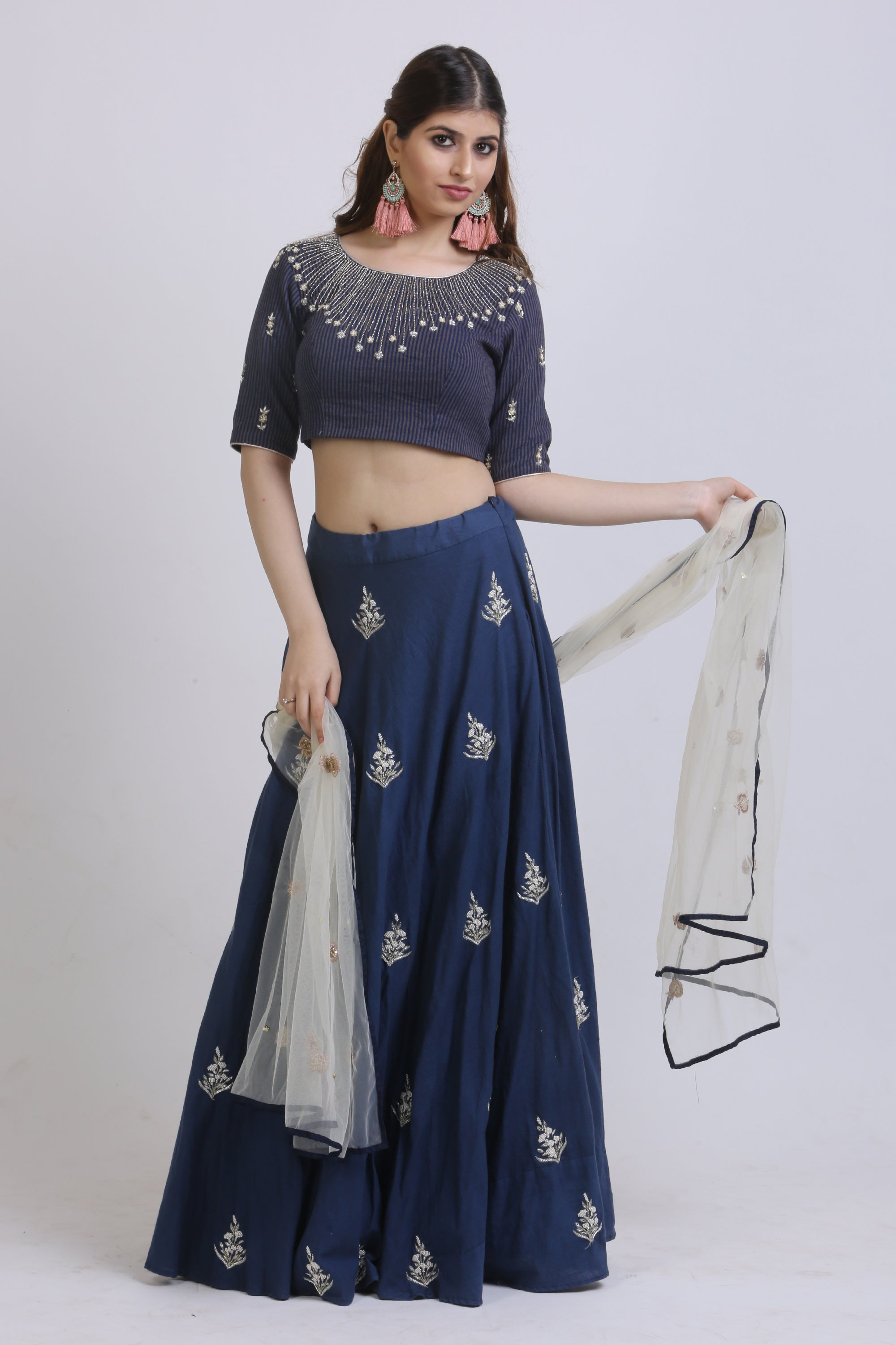 Blue Vertical Lined Blouse & Embroidered Lehenga SIDE