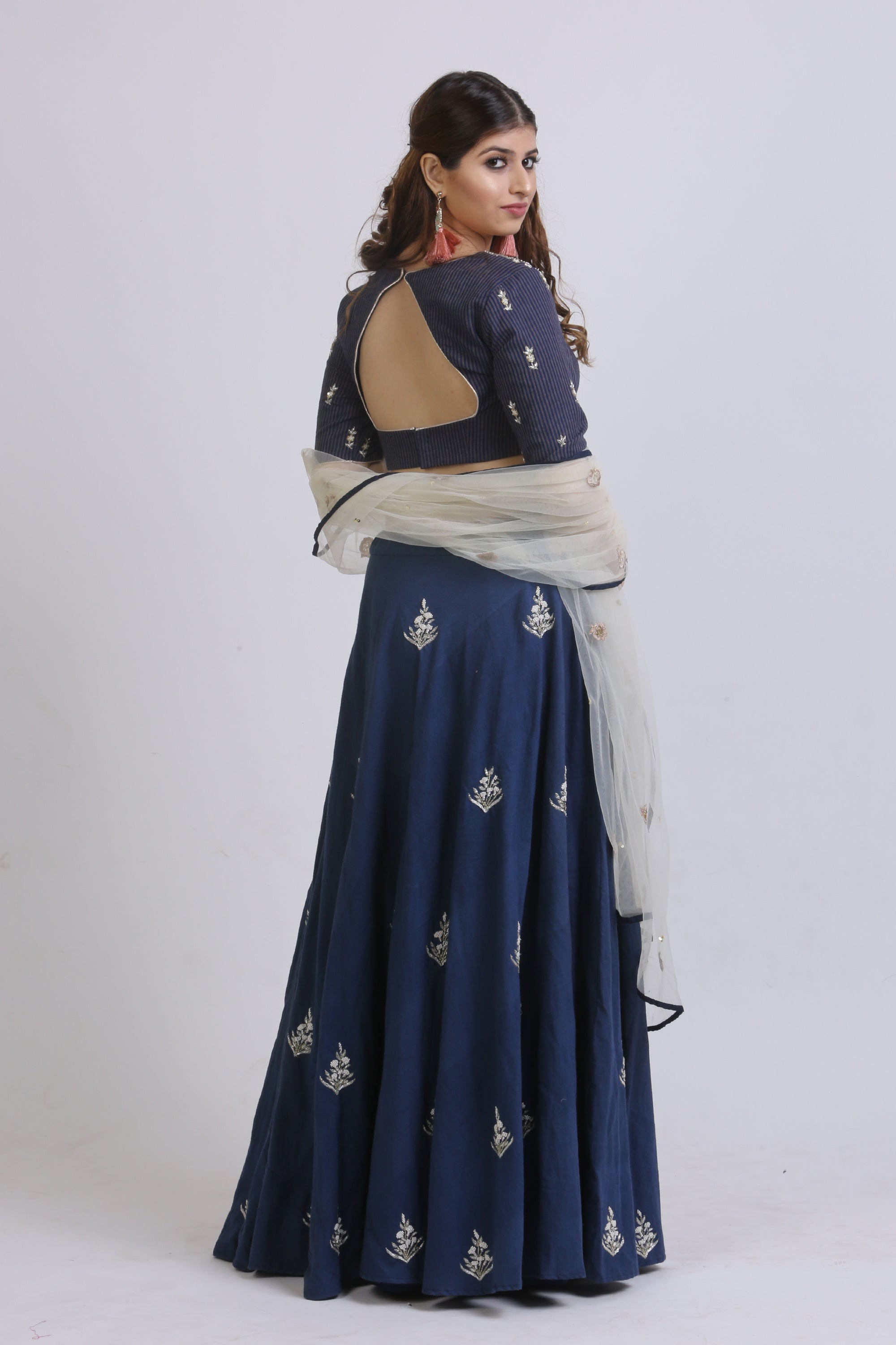 Blue Vertical Lined Blouse & Embroidered Lehenga BACK