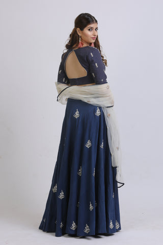 Blue Vertical Lined Blouse & Embroidered Lehenga