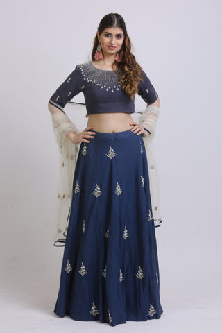 Blue Vertical Lined Blouse & Embroidered Lehenga FRONT