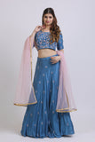 Cobalt Blue Blouse & Lehenga With Mirror Embroidery FRONT
