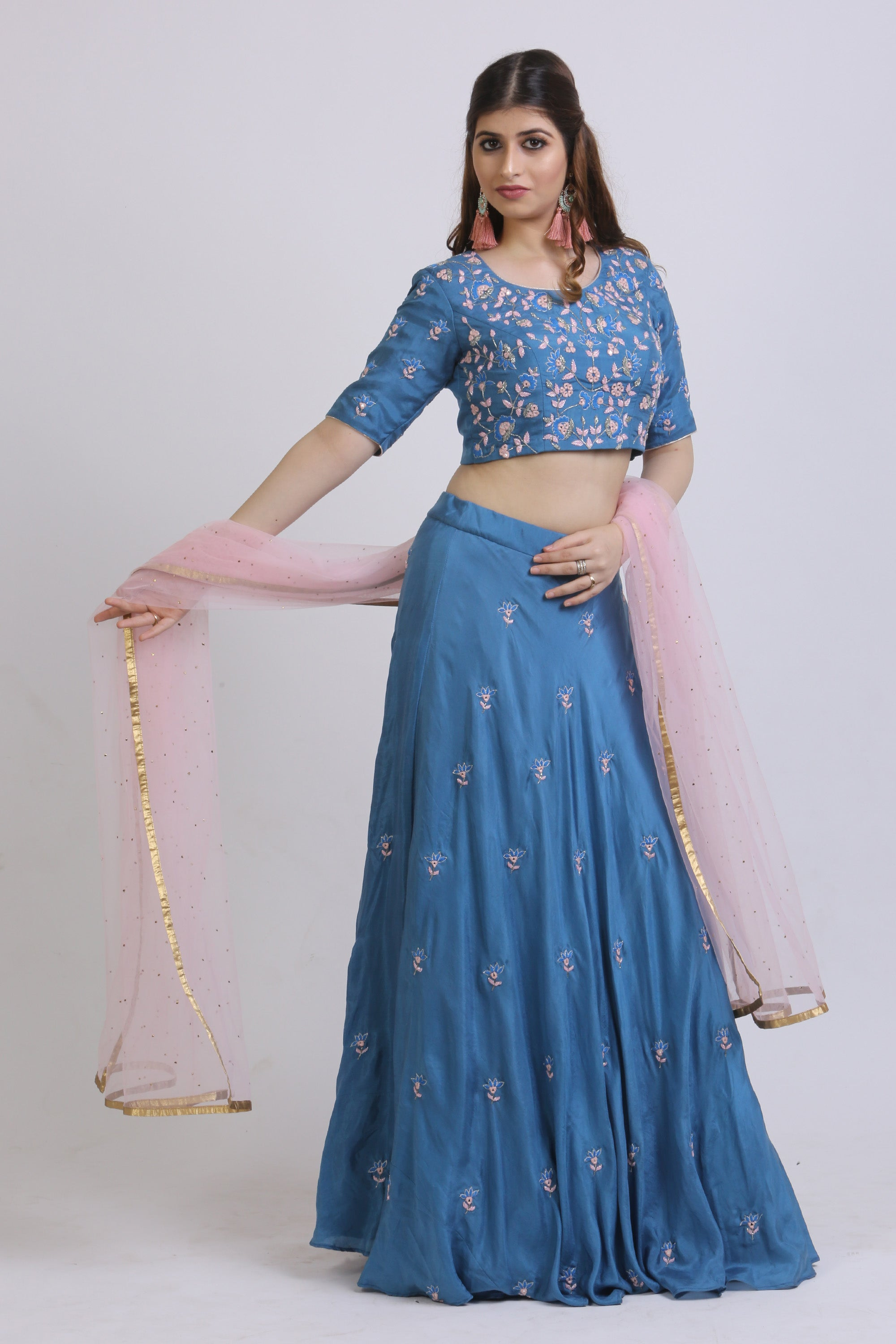 Cobalt Blue Blouse & Lehenga With Mirror Embroidery SIDE