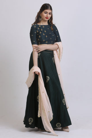 Bottle Green Raw Silk Lehenga With A Peach Dupatta