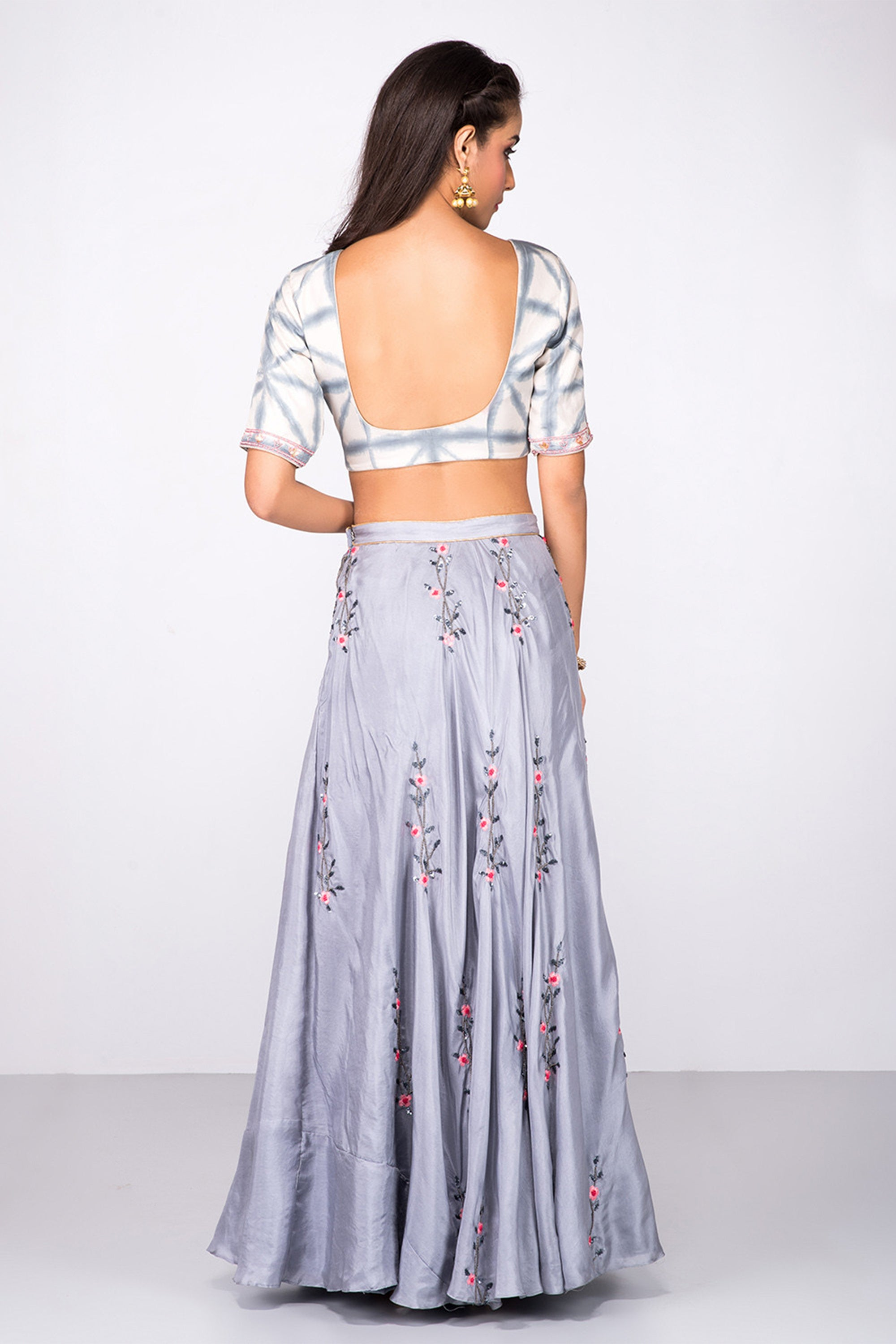 Grey Tie Dye Blouse & Lehenga BACK