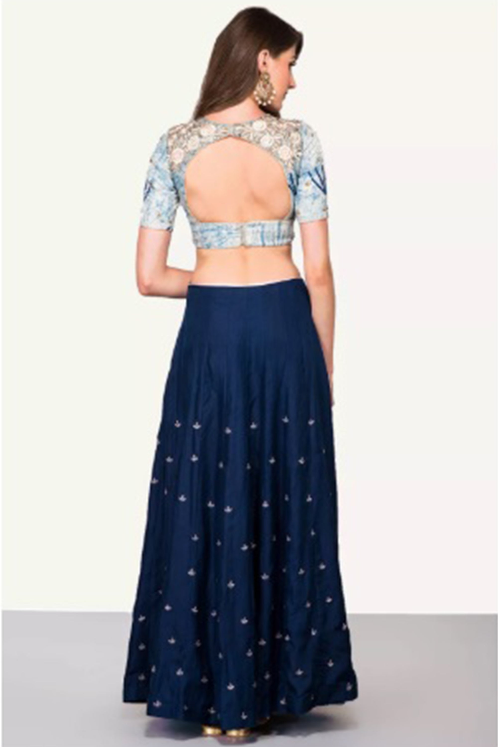 Vegetable Print Blouse & Silk Lehenga BACK