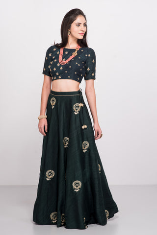 Bottle Green Lehenga & Rani Pink Dupatta