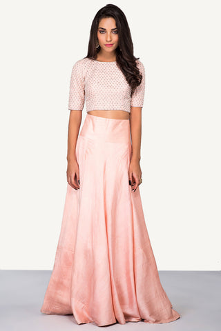 Peach Intricately Embroidered Crop Top & Skirt FRONT