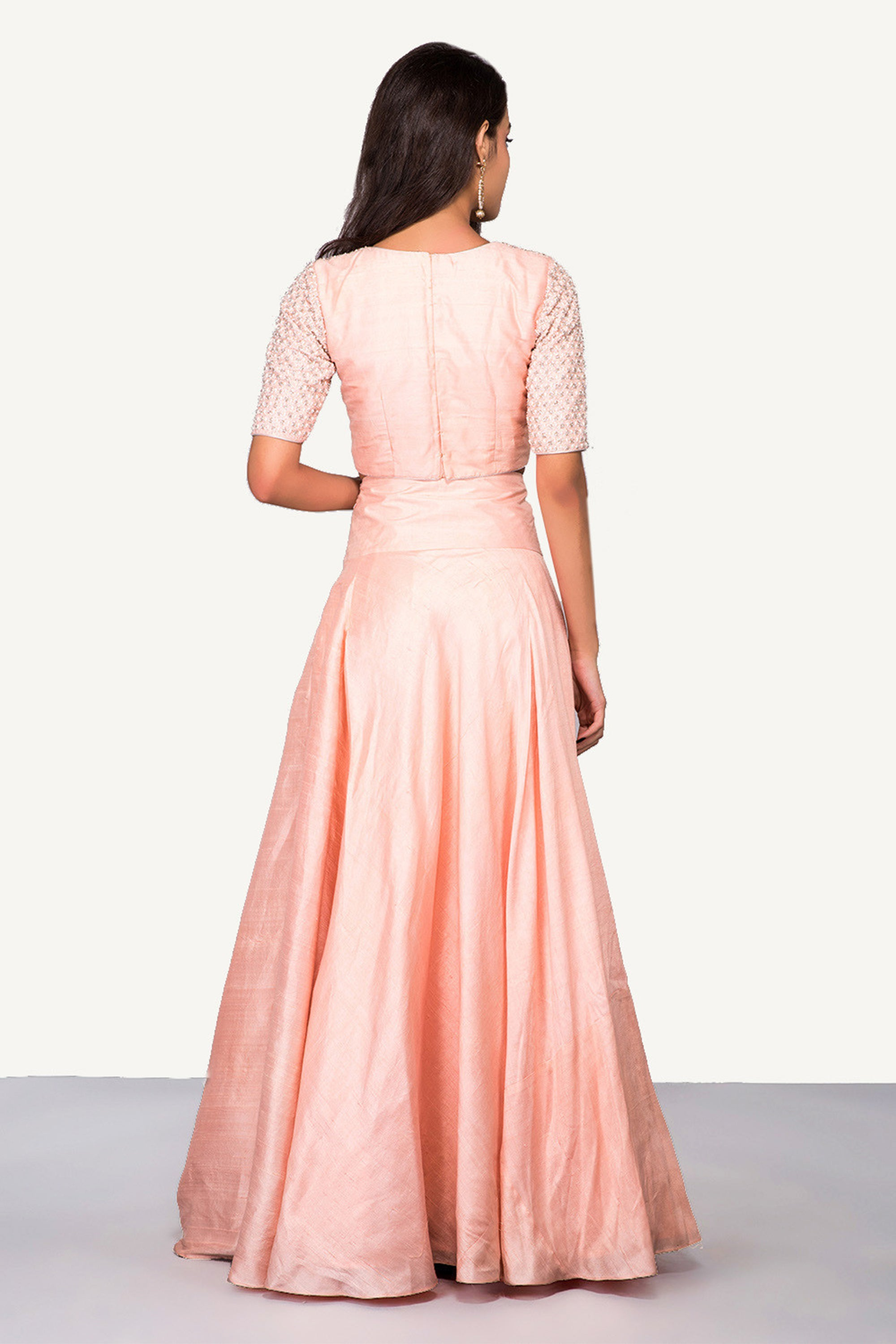 Peach Intricately Embroidered Crop Top & Skirt BACK
