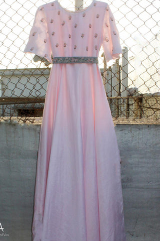 Powder Pink Full Length Dress & Belt FRONT