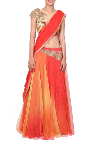Sunset Orange Lehenga Saree With Printed & Embroidered Blouse Front